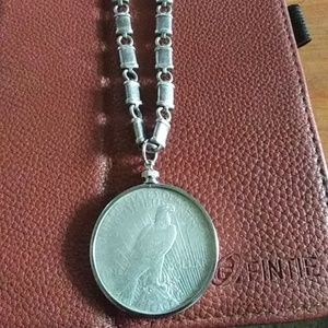 Other - Silver dollar pendant and sterling silver necklace